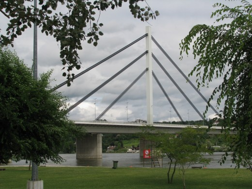 The Freedom Bridge in Novi Sad as viewed from The Strand area.