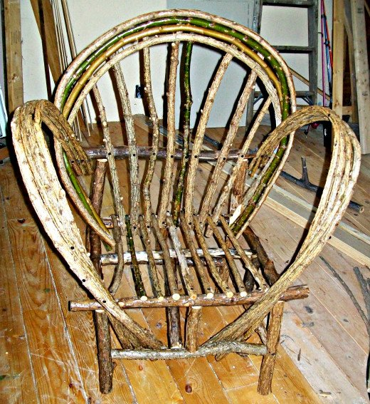 This is my second bent-willow chair, showing (somewhat) better workmanship.