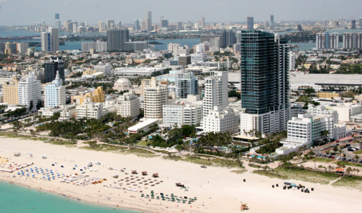 South Beach, as its name suggests, is the lower part of the Miami peninsula.  The beach is tolerant of the European custom of topless sunbathing, especially at Lummus Beach.
