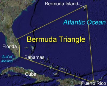 Map of the area known as the Bermuda Triangle