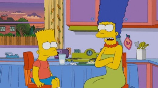 Marge is furious with Bart because he won't admit he was part of a bulldozer crash.