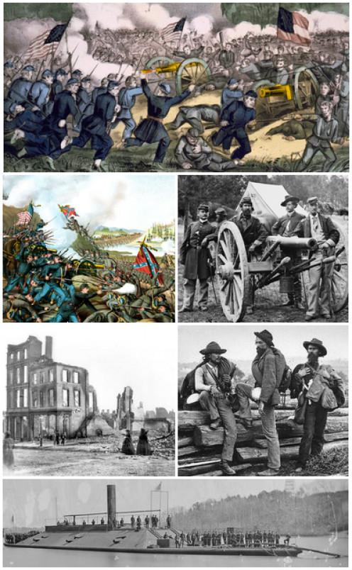 A collage of Civil War scenes