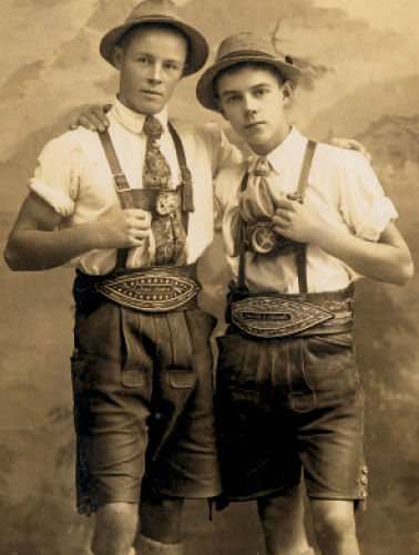 Traditional Lederhosen and image from 1980s.