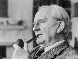 Tolkien engaging in one of his favorite leisure activities, smoking his pipe