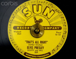 "Elvis' first hit, ""That's All Right, Mama,"" produced by Sam Phillips on Sun records."