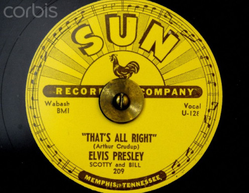 """Elvis' first hit, """"That's All Right, Mama,"""" produced by Sam Phillips on Sun records."""