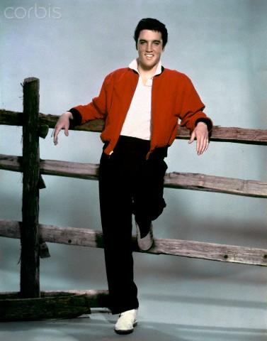 Elvis on the set of Jailhouse Rock.