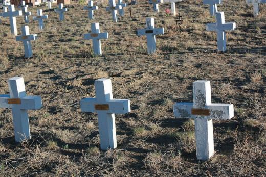 Markers at the San Juan Bautista Cemetery near Florence, Colorado.