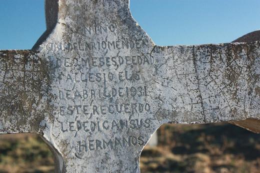 Hand-made marker at the San Juan Bautista Cemetery near Florence, Colorado.