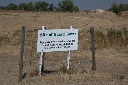 Sign noting location of Guard Tower at Amache Relocation Center near Granada, Colorado.