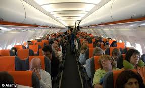 Airline passengers having a good time.