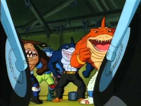 The Street Sharks had vehicles. Despite being able to swim through concrete. Don't think too hard on it.