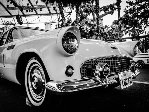 classic car in black and white with loads of shiny chrome
