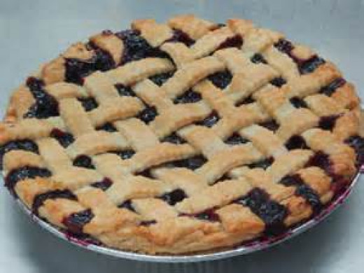 Blueberry pie with lattice top crust