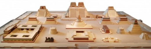 A model of Tenochtitlan as it was prior to Spanish renovations.