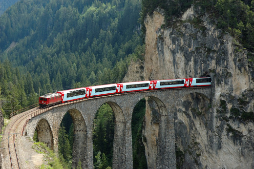 Glacier Express crosses many different bridges on its way