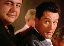 "Paul Sorvino, nearest camera, as ""Paul Cicero,""  meets Robert De Niro, ""James Conway,"" in GoodFellas."