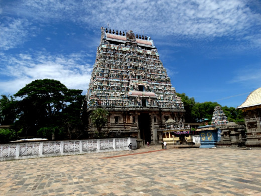 The South Gopuram (Tower) of the temple of Nataraja