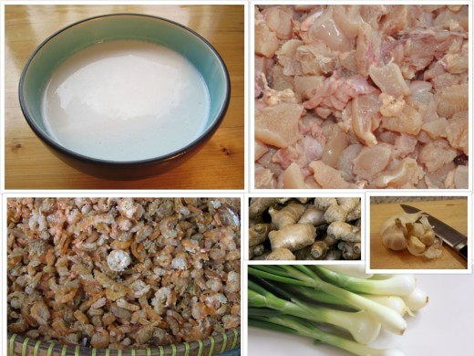 The chief ingredients for the Coconut Chicken Gravy: Clockwise from top left - Coconut Milk, diced (boneless) Chicken, Garlic and Ginger, Spring Onions and Dried Prawns,