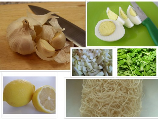 Condiments for the dish: Clockwise from top left - Garlic which is used for making the garlic oil, sliced (boiled) eggs, diced Onions and Coriander Leaves, Rice Noodles (to be fried) and Lemon