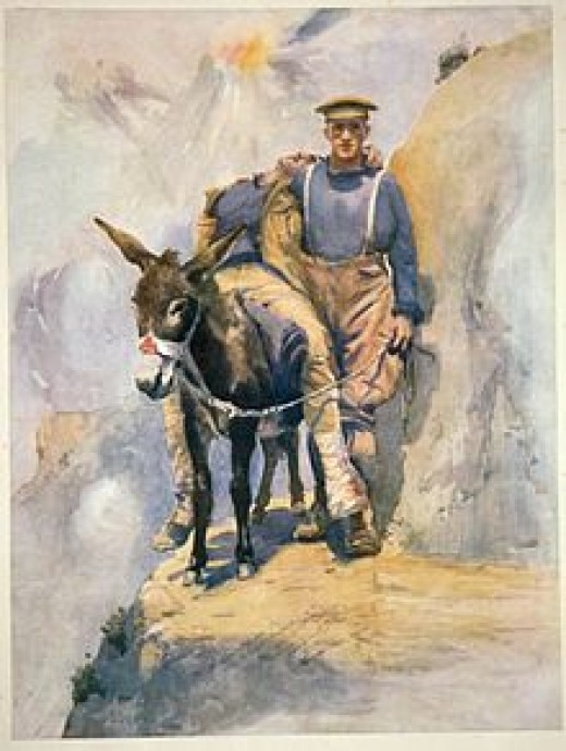 The most famous painting of the Campaign and one that spoke volumes about the Anzac spirit. The painting is of the artists friend ferrying wounded from the fighting