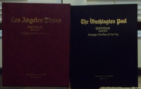 These Unique Birthday Edition books have the front page of each year since we were born. The can be personalized without any extra charge, and make a PERFECT Gift for the person that has everything and has lived for ever, like Don's Mom!