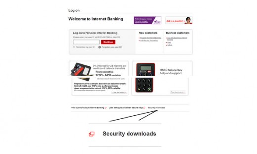 Figure 7: HSBC customer log in pages (Source: HSBC 2013).
