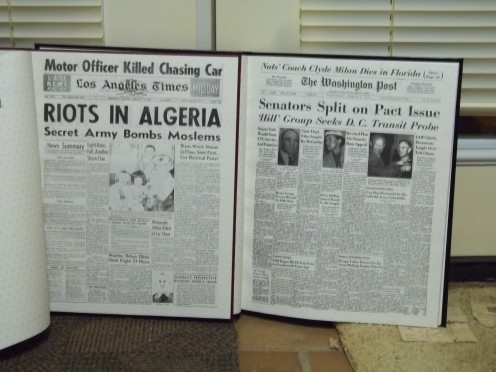 These are the first Pages in each of our books which shows the headlines on the day each of us was born.  Mine is on the Left side of the picture, Don's is on the right side of the picture.