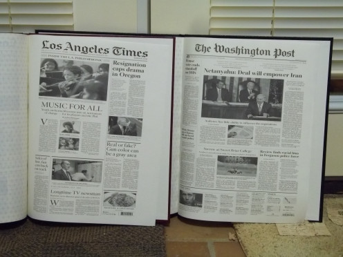 These are the last pages in each of our books, which shows the headlines on our most recent birthdays.