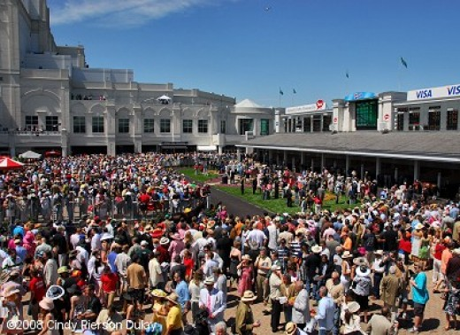 Crowd around the paddock