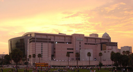 The Amalie Arena at sunset.  Located in Downtown Tampa's Channelside District, the building opened in 1996 and was originally known as the Ice Palace.  The building has hosted many important sporting contests since and some large pop concerts.