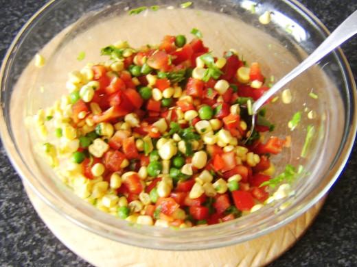 Vegetables are carefully stirred