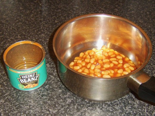 Baked beans in tomato sauce ready to be heated