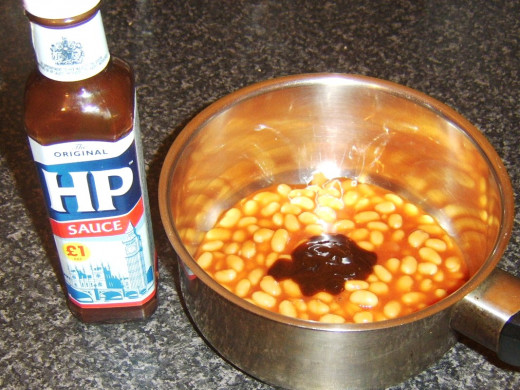 HP Sauce is an optional addition to the beans in tomato sauce