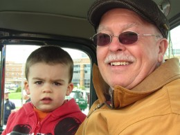 Adorable 2 year old Dominic is a part of the club with his grandfather Mr. Mooney.