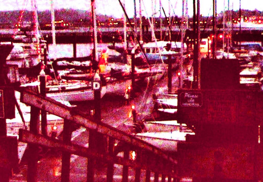 Many boats brightly lit with Christmas decor