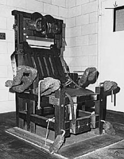Electric chair believed to be photographed at the Cook Country Jail, Illinois.