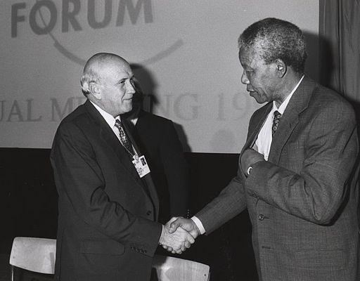 F W de Klerk and Nelson Mandela