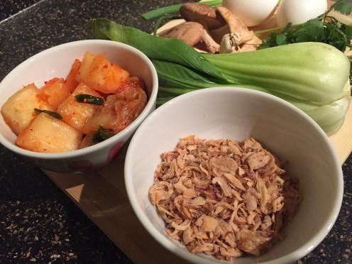Radish/Nappa Cabbage Kimchi, Fried Shallots.