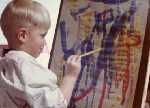 Easel painting is an example of open-ended art. It promotes creativity, independence, and decision-making.