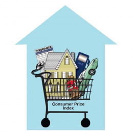 photo of a silhoutte of a house with a basket of goods inside and the words Consumer Price Index