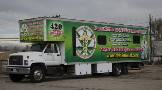 Medical marijuana doctor truck. Denver, CO