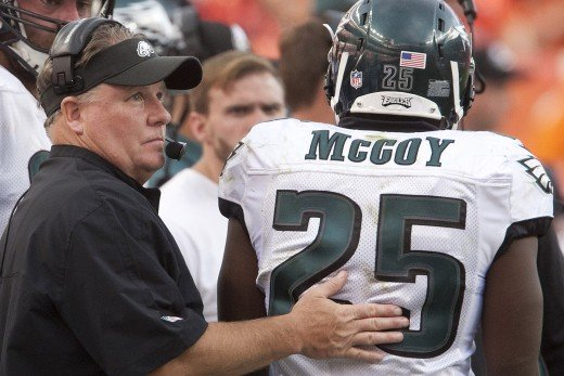 Philadelphia Eagles head coach/GM Chip Kelly showing ex-Eagles RB LeSean McCoy the door