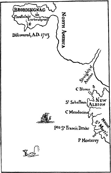 Map of  Brobdingnag from the original edition. Conventional maps of the time were not much more realistic.