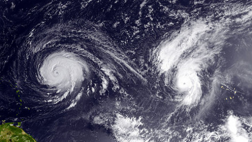 Satellite view of two tropical storms