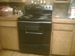 My stove now Black only 1 year old $50.00 baby!