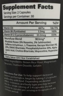 Neurofuse Supplement Label