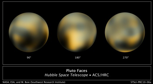 Three different views of the dwarf planet, Pluto, taken by the Hubble telescope.  Pluto is the largest object in the Kuiper belt.  Mainly made up of rock and ice, it has about a sixth of the mass of the Moon and a third of its volume.