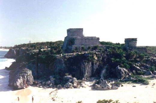 Tulum, Castillo, view from the beach, 1995