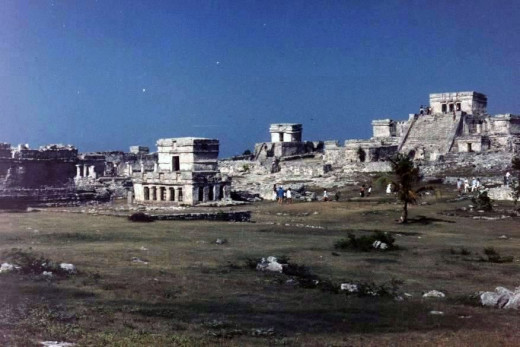 The site of Tulum, with the Castillo in the center. Quintant Roo, Mexico.